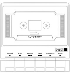 Audio tape cassette player vector