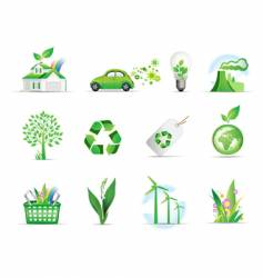 Set of green environmental icons vector