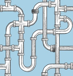 Doodle pipes pattern seamless vector