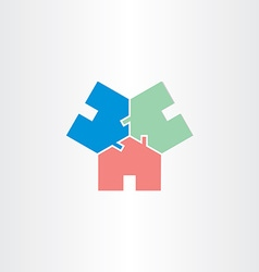 Three houses in circle home icon vector