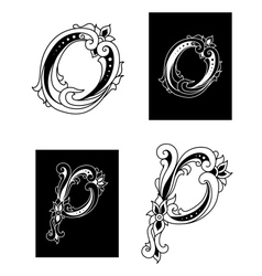 Letters o and p with floral embellishments vector