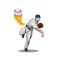 American baseball player pitcher vector