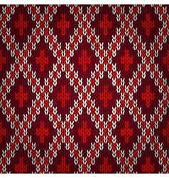 Seamless red knitted pattern vector