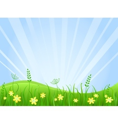 Beautiful green meadow scene vector