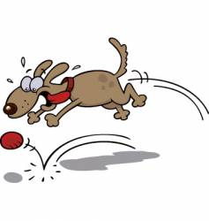 Dog chasing a red ball vector