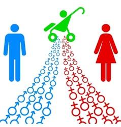 Male and female sex symbols tend vector