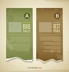 Vintage ripped label paper for business vector