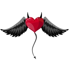 Devilish heart with horns and wings vector