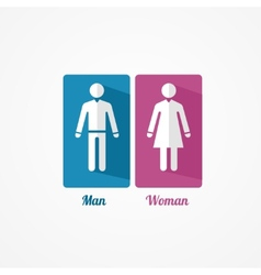 Man and woman flat icon with shadows vector