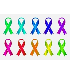 Set of colorful awareness ribbons isolated on vector