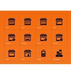 Shop icons on orange background vector