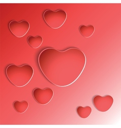 Heart shapes on red background vector