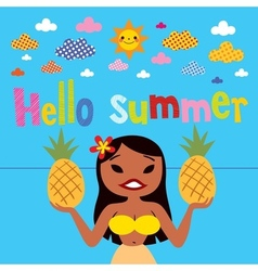 Hello summer hula girl vector