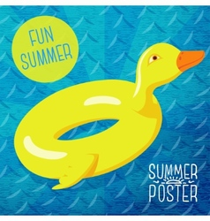Cute summer poster - fun sea rubber duck with vector