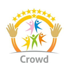 Logo crowd community celebration children design vector