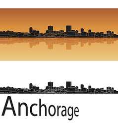 Anchorage skyline in orange background vector