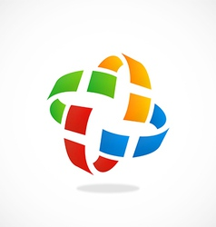Orbit pixel colorful circle logo vector