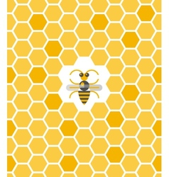 Sweet geometric pattern with honeycomb and bee vector