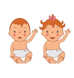 Funny smiling little babies vector