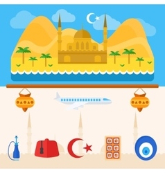 Turkey or turkish icons and background vector