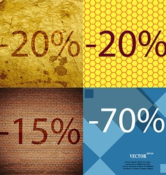 20 15 70 icon set of percent discount on abstract vector