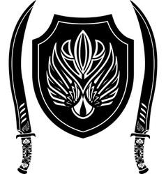 Fantasy arabian shield and swords vector