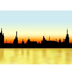 Sunset in the city and sea vector