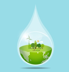 Green eco earth with water drop vector