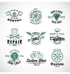 Retro bicycle labels or logo templates set vector