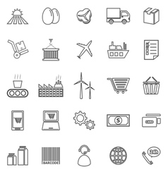 Supply chain line icons on white background vector