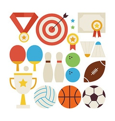 Flat style collection of sport recreation and vector