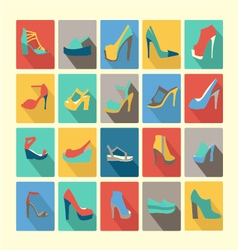 Shoes set icons set of fashion footwear vector
