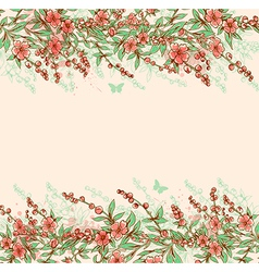 Background with pink flowering branch vector