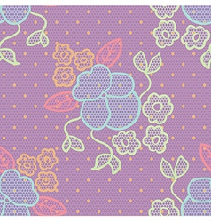 Violet lace fabric seamless pattern vector