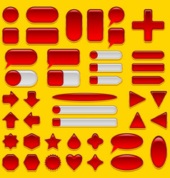 Red glass buttons set vector