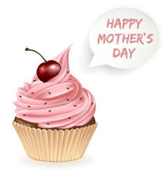 Happy mothers day cupcake vector