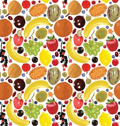 Pattern with fruits and berries vector