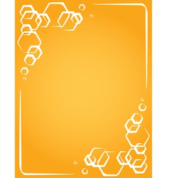 Frame on yellow background honeycomb vector
