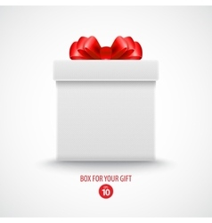 Gift white box with a red bow vector