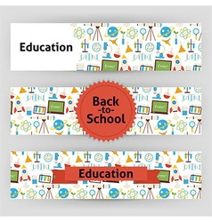 Education school and science template banners set vector