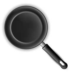 Empty black frying pan vector