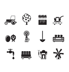 Silhouette farming industry and farming tools icon vector