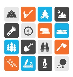 Silhouette camping and tourism icons vector