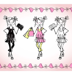Sketch fashion girl vector