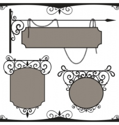 Vintage wrought iron signs vector