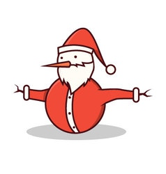 Isolated cartoon snowman wearing santa claus costu vector