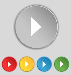 Play button icon sign symbol on five flat buttons vector