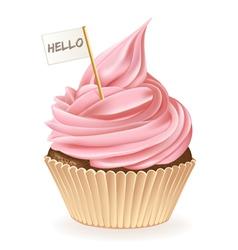 Hello cupcake vector