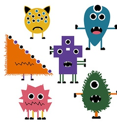 Set of simply cute monsters icon set vector