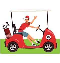 Caddy in a golf cart vector